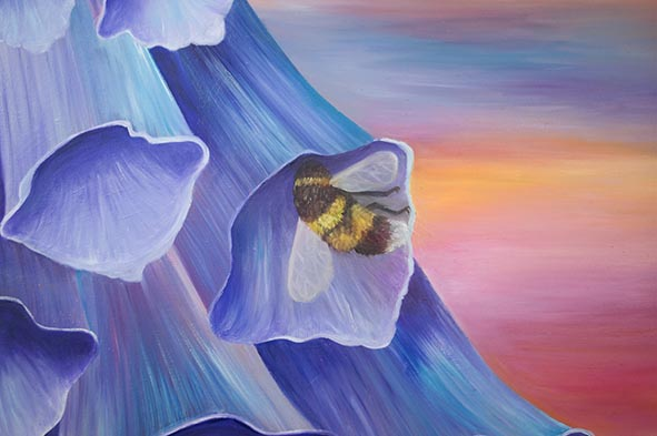 flower oil painting foxglove bee
