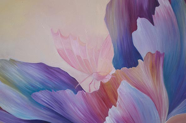 peony butterfly oil painting