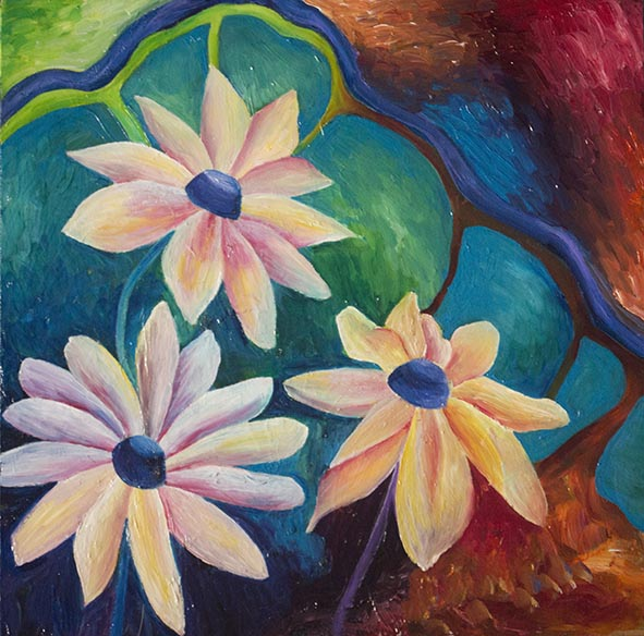 flowers rudbeckias oil painting