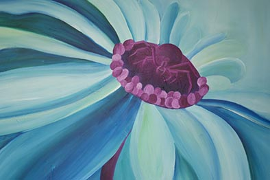crab spider daisy oil painting