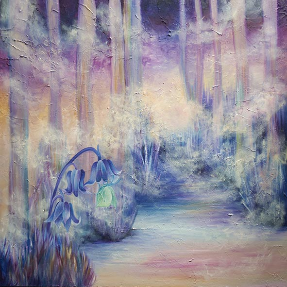 bluebell wood landscape oil painting
