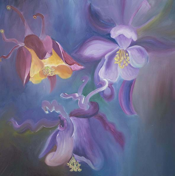 aquilegia flowers oil painting