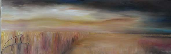 rye field sussex sunset stormy sky oil painting