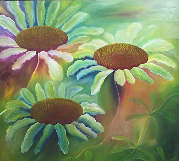 spirals daisies oil painting